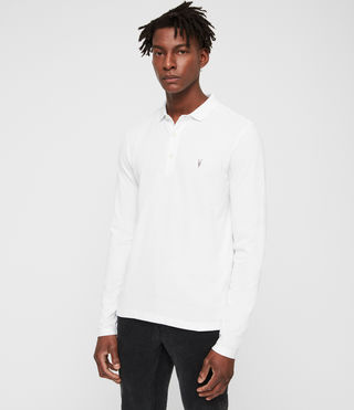 Mens Reform Long Sleeved Polo Shirt (Optic White) - Image 3