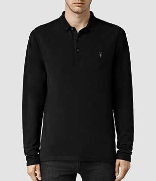 Mens Reform Long Sleeved Polo (Jet Black) - product_image_alt_text_1