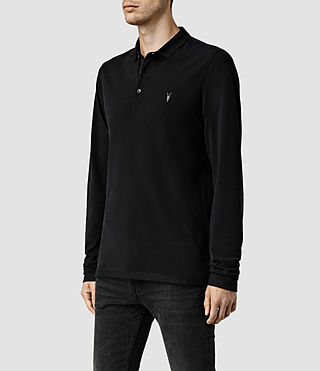 Mens Reform Long Sleeved Polo (Jet Black) - product_image_alt_text_2