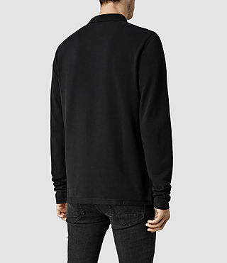 Mens Reform Long Sleeved Polo (Jet Black) - product_image_alt_text_3