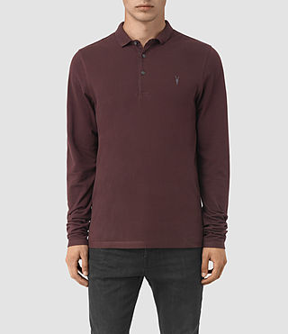 Hommes Reform Long Sleeve Polo Shirt (Damson Red)