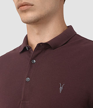 Hommes Reform Long Sleeve Polo Shirt (Damson Red) - product_image_alt_text_2