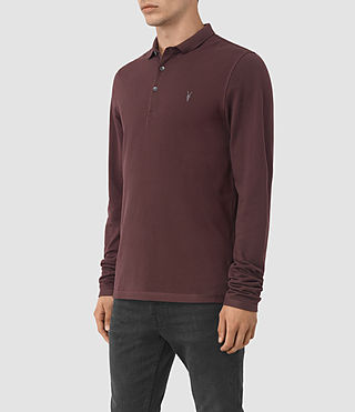 Hommes Reform Long Sleeve Polo Shirt (Damson Red) - product_image_alt_text_3