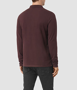 Hommes Reform Long Sleeve Polo Shirt (Damson Red) - product_image_alt_text_4