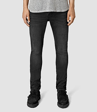 Mens Dubh Cigarette Jeans (Black) - product_image_alt_text_1