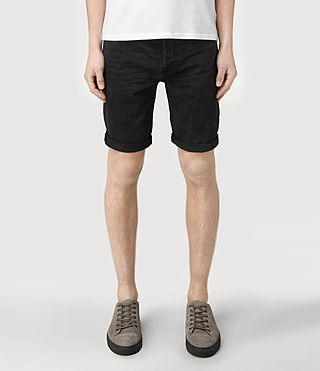 Men's Print Switch Denim Shorts (Black)