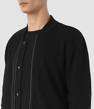 Mens Double Bomber Sweatshirt (Jet Black) - product_image_alt_text_2