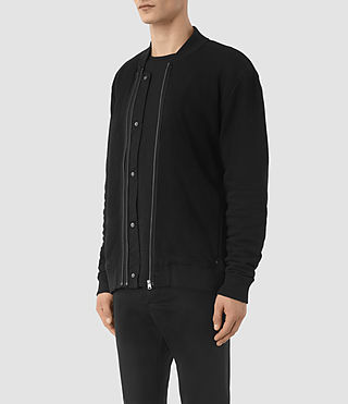 Mens Double Bomber Sweatshirt (Jet Black) - product_image_alt_text_3