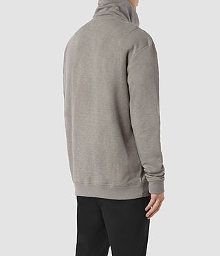 Mens Double Funnel Neck Sweatshirt (Putty Brown) - product_image_alt_text_4