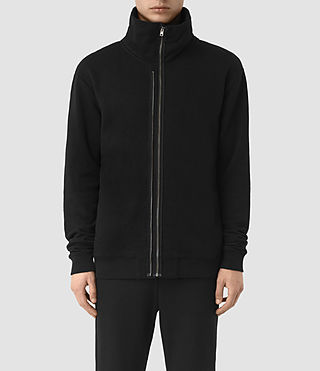 Hombres Double Funnel Neck Sweatshirt (Jet Black)