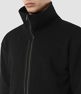 Mens Double Funnel Neck Sweatshirt (Jet Black) - product_image_alt_text_2