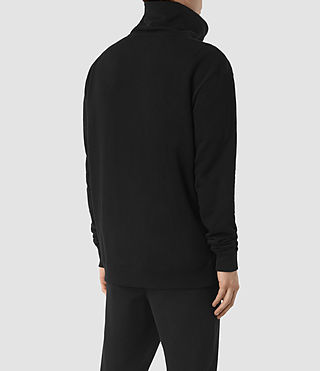 Mens Double Funnel Neck Sweatshirt (Jet Black) - product_image_alt_text_4