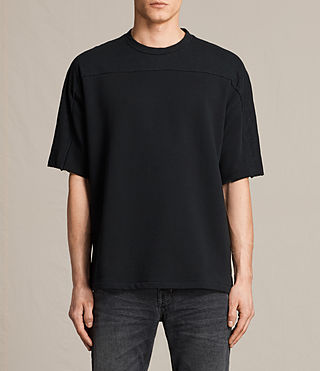 Mens Harlston Short Sleeve Crew Sweatshirt (Jet Black) - product_image_alt_text_1