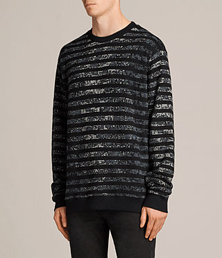 Mens Trico Leopard Crew Sweatshirt (Charcoal Marl) - Image 3