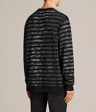 Mens Trico Leopard Crew Sweatshirt (Charcoal Marl) - Image 4