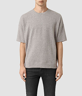 Mens Ryshe Short Sleeve Crew Sweatshirt (Taupe Marl) - product_image_alt_text_1