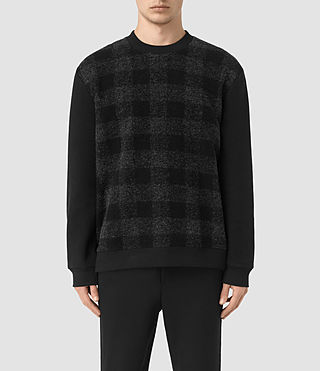 Hombres Checks Crew Jumper (Jet Black)