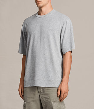 Mens Smith Short Sleeve Crew Sweatshirt (Grey Marl) - product_image_alt_text_5