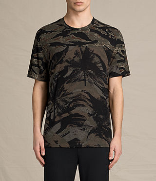 Mens Palm Camo Crew T-Shirt (Black)
