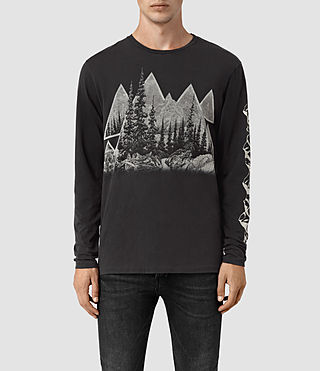 Hombre Alpina Long Sleeve Crew T-Shirt (Black) - product_image_alt_text_1