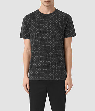 Hombres Needle Cross Crew T-Shirt (VNTG BLK/LIGHT GRY)