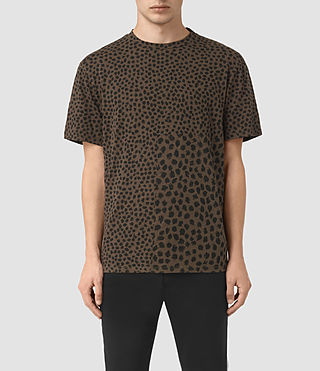 Uomo Leopard Polka Crew T-Shirt (BATTLE BROWN) -