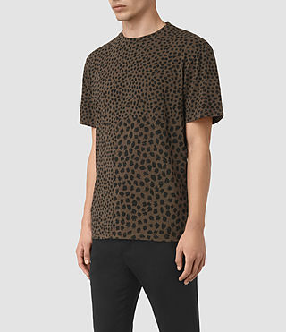 Mens Leopard Polka Crew T-Shirt (BATTLE BROWN) - product_image_alt_text_2