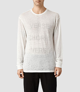 Mens Verse Long Sleeved Crew T-shirt (Chalk)