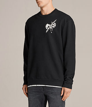 Men's Splitter Long Sleeve Crew T-Shirt (Black) - Image 4