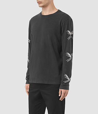 Hommes Remote Long Sleeve Crew T-Shir (Vintage Black) - product_image_alt_text_2
