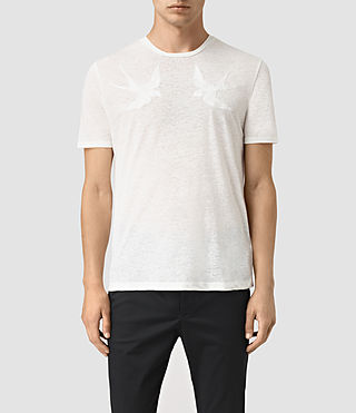 Hommes Martins Stitch Crew T-Shirt (Chalk White)