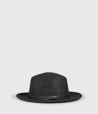 Mens Bronson Leather Fedora Hat (Charcoal)