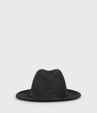 Men's Bronson Leather Fedora Hat (Charcoal) - product_image_alt_text_4