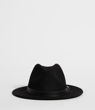 Mens Bronson Leather Fedora Hat (Black)