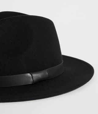Mens Bronson Leather Fedora Hat (Black) - product_image_alt_text_2