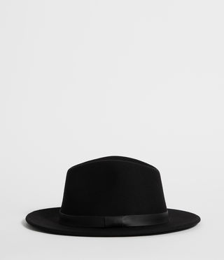 Mens Bronson Leather Fedora Hat (Black) - product_image_alt_text_3