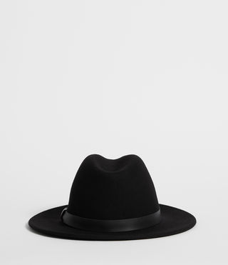 Mens Bronson Leather Fedora Hat (Black) - product_image_alt_text_4