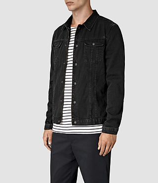 Hombres Storr Denim Jacket (Black) - product_image_alt_text_5