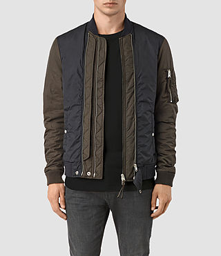 Mens Braddock Bomber Jacket (SLATE/KHAKI BROWN) - product_image_alt_text_1