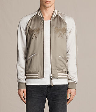 Mens Namika Bomber Jacket (KHAKI GREEN/WHITE) - product_image_alt_text_1