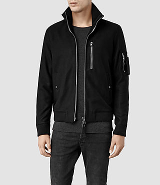 Mens Apsley Leather Bomber Jacket (Black)