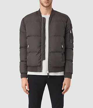 Mens Furlough Bomber Jacket (Dark Khaki Green) - product_image_alt_text_1