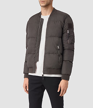 Mens Furlough Bomber Jacket (Dark Khaki Green) - product_image_alt_text_3
