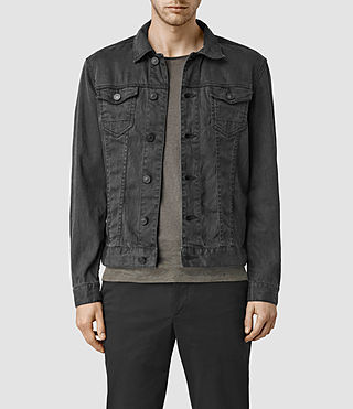 Mens Stretent Denim Jacket (Black) - product_image_alt_text_1