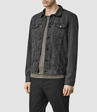 Mens Stretent Denim Jacket (Black) - product_image_alt_text_2