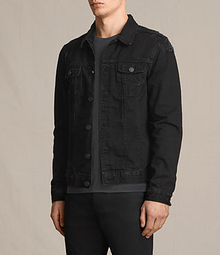 Hommes Snipe Denim Jacket (Black) - product_image_alt_text_3