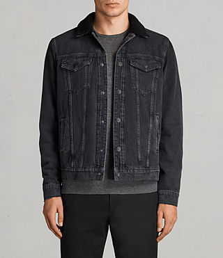 barred denim jacket