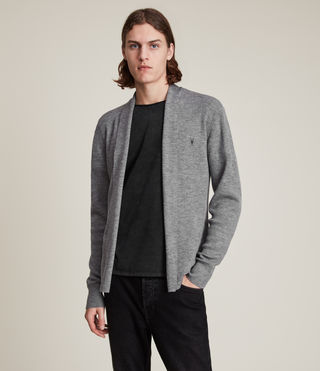 Hommes Mode Merino Open Cardigan (Grey Marl) -