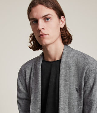 Mens Mode Merino Open Cardigan (Grey Marl) - product_image_alt_text_2