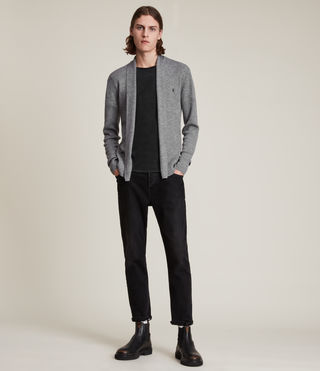 Mens Mode Merino Open Cardigan (Grey Marl) - product_image_alt_text_3